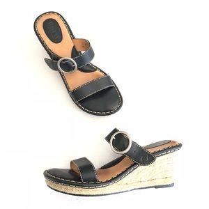 Born Espadrille Wedges Slip-On Sandals Leather EUC
